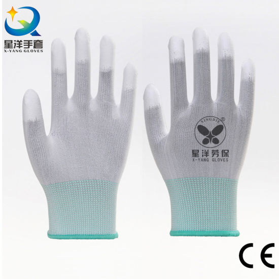 13G White Polyester Liner with PU Top Fit Coated Safety Work Gloves