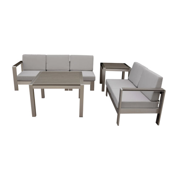 Modern Good Quality Garden Outdoor Patio Furniture Diffe Combination Sofa Coffee Table With Plastic Wood Top Set