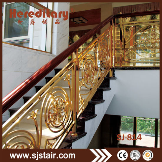 Interior Golden Color Stair Railing Safety Fence For Villas Luxury Staircase