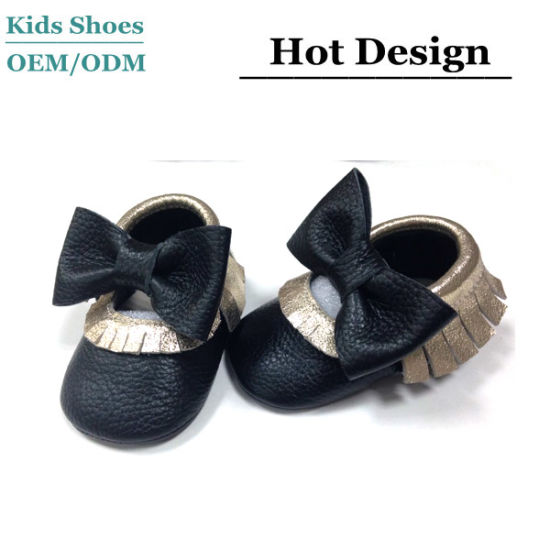 Wholesale Custom Fashion Leather Kids Shoes Big Bow Sole Shoes