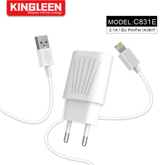 EU Plug 2.1A USB Charger with Lightning Data Cable for iPhone pictures & photos