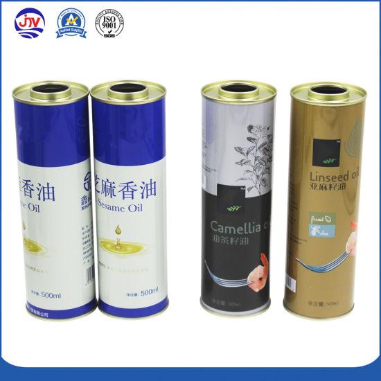 Custom Tinplate 500ml Olive Oil Round Tin Can