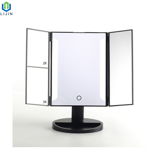 China Led Strip Lighted Makeup Mirror Trifold Vanity Mirror China