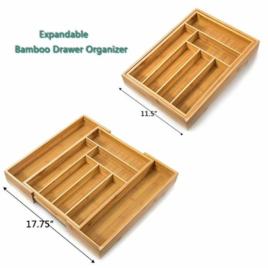 China Bamboo Expandable Utensilcutlery Tray Drawer Organizer With