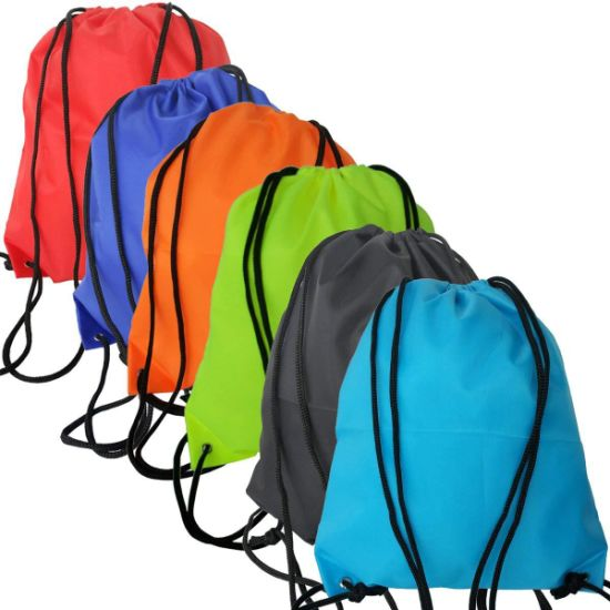 Custom Sports Backpack Polyester Drawstring Bag Printing Draw String Bag for Promotional