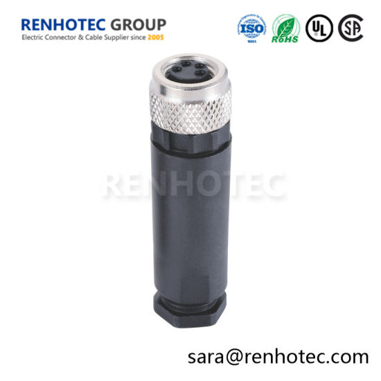 M8 4pin Female Field Installable Connector Straight Assembly Cable Plug