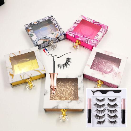Private Logo Liquid Eyeliner 3D Silk Faux Extension Mink Magnetic False Eyelash