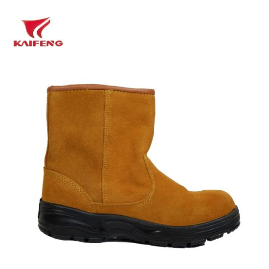 Stock Suede Leather and Sheep Lining Safety Boots