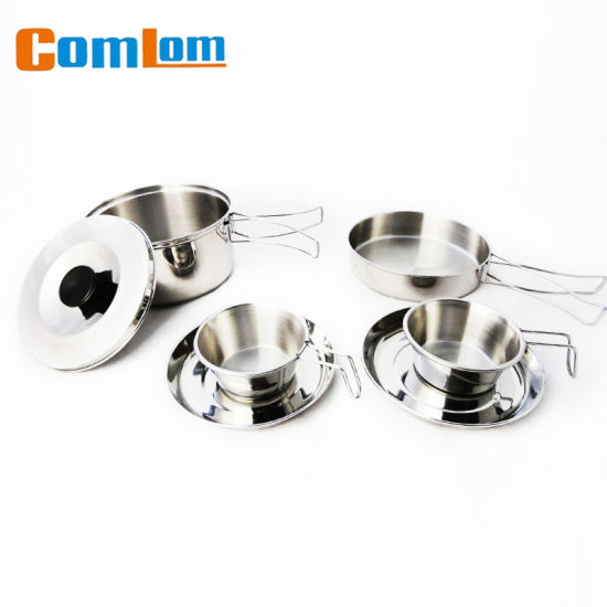 CL2C-DT08 Comlom 6 PCS set Stainless Steel Camping Cookware set