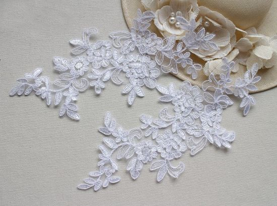 Pearls tulle lace fabric with d flowers wedding lace