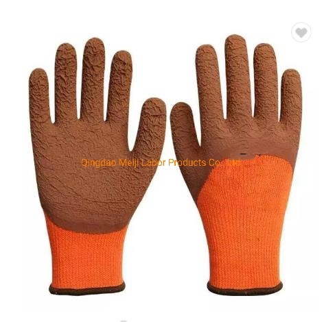 Free Sample Fleeced Acrylic Fiber Liner Micro-Foam Latex Coated Work Safety Gloves