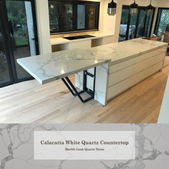 Manmade Stone Calacatta White Quartz Stone For Countertops Design