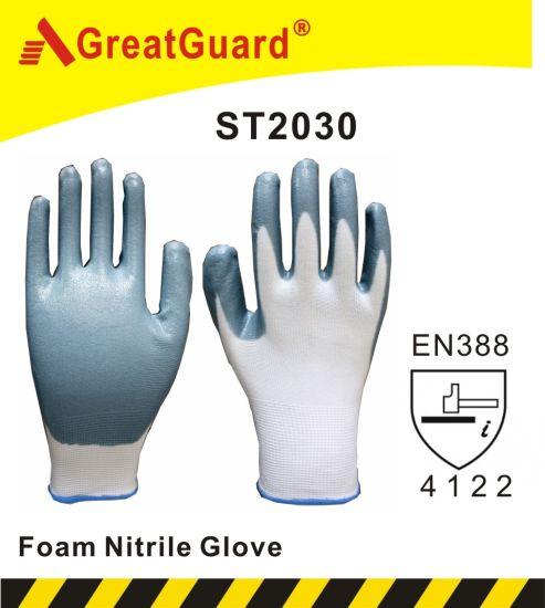 Foam Nitrile Safety Work Glove for Gardening Use