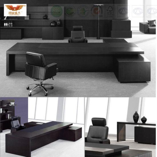 Modern Black L Shape Executive Office Table Desk Hy 0898