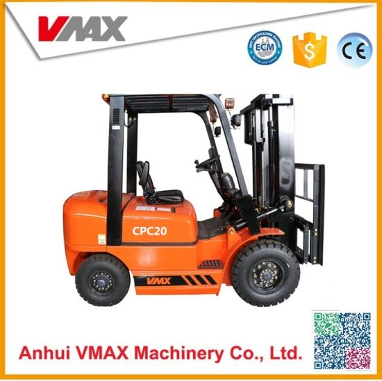 China 2 Ton Diesel Forklift with 2 Stage 3m Mast and