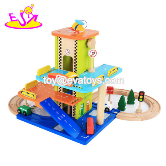 China New Hottest Mini Wooden Car Garage Toy Set For Kids Play
