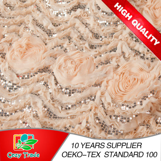 Fashion Design Good Quality Chiffon 3D Flower with Sequins Embroidery for Dressing, Wedding, Garments, Hometextile