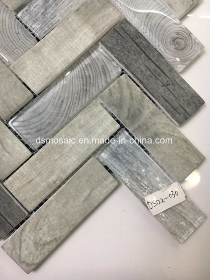 Gray Wooden Ink Jet Printing Herringbone Glass Mosaic Tile pictures & photos