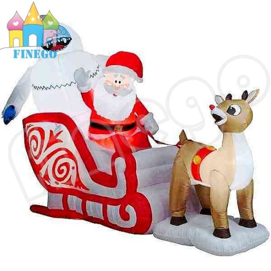 Giant Inflatable Christmas Snoopy Boys on Sleigh for Yard Decoration pictures & photos