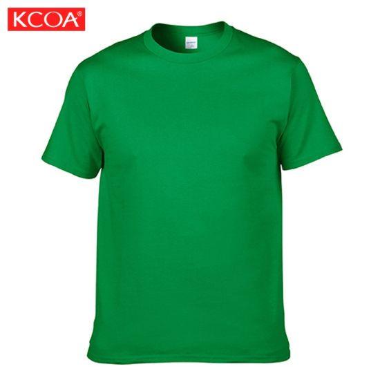 Low Price Custom Printed Plain Cotton Green Men T Shirt