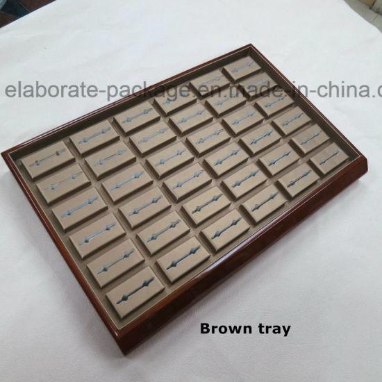 Custom Wood Window Jewelry Display Stand Set Wooden Tray