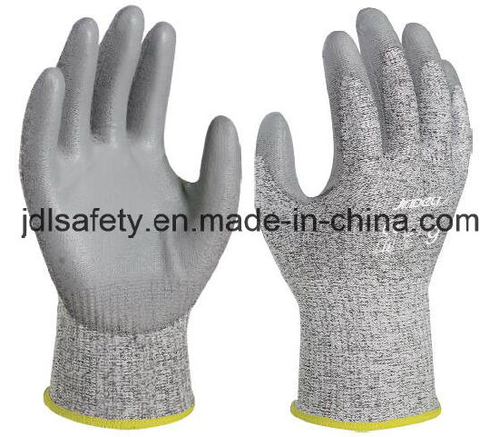 Industrial Against Abrasion Safety Working Laborr Hand Protective Anti-Cut Work Glove with PU Coating (PD8045)