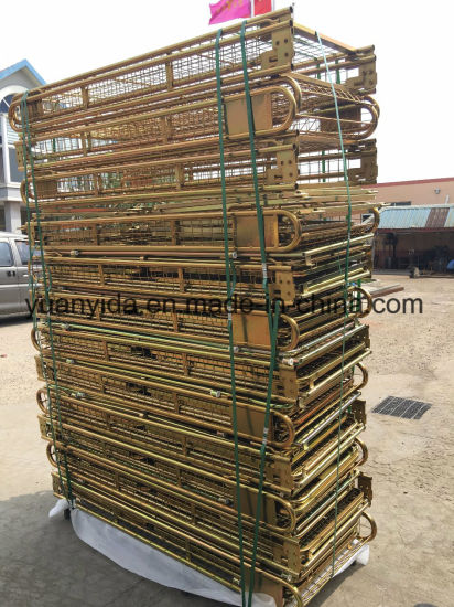 Gold Galvanized Warehouse Storage Mesh Pallet Roll Containers pictures & photos