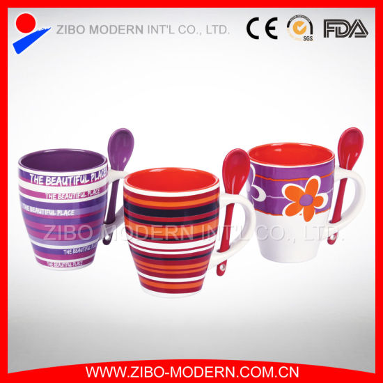 Wholesale Color Ceramic Coffee Mug with Color Spoon in Handle pictures & photos