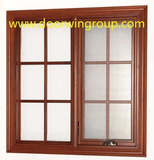 Double Glazing Aluminum Wood Windows, American Casement Style Solid Wood Aluminum Casement Windows