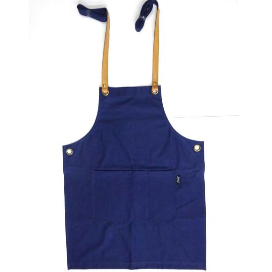Customized Promotional Christmas Blue Cotton Canvas Apron for BBQ Cooking