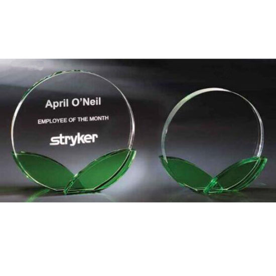 Round Crystal Glass Trophy Award with Green Leaves pictures & photos