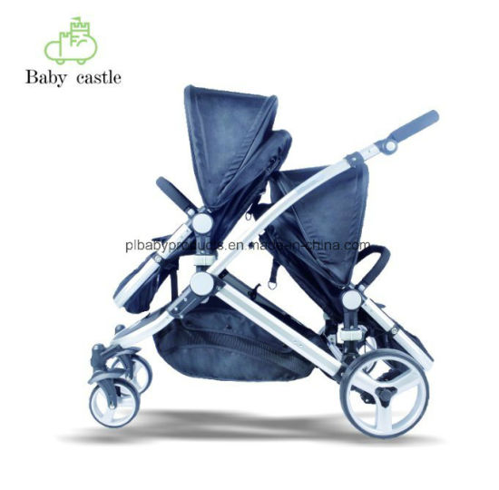 2018 Folding New Model Aluminum Double Twins Kids Children 600d Baby Stroller