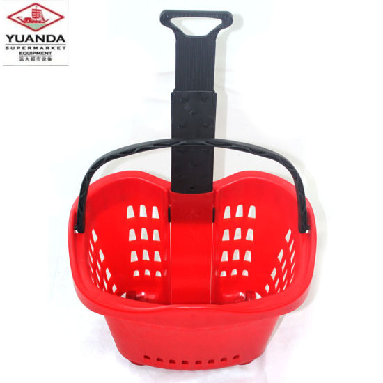 Supermarket Red Rolling Plastic Collapsible Shopping Basket