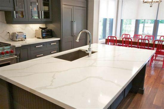 China 3cm Thickness White Artificial Quartz Stone Benchtops
