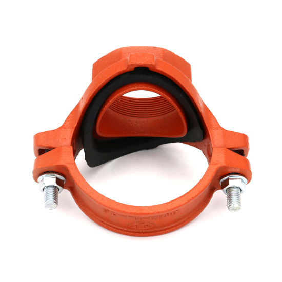 FM/UL Certificated Ductile Iron Epoxy/Painted/Galvanized Red/Blue Grooved Pipe Fittings Threaded Mechanical Tee for Fire Safety/Mine/Engineering/Cable/Sprinkler
