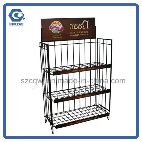 China Supermarket Floor Stand 3-Tier Detachable Metal Wire Bread ...
