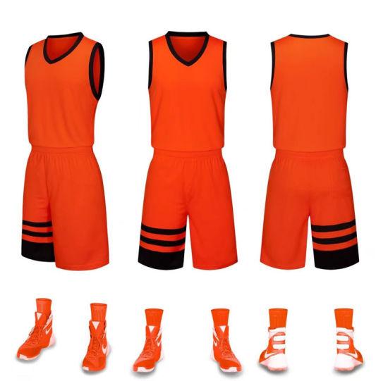 China Latest Design Orange White And Black Color Basketball Uniform