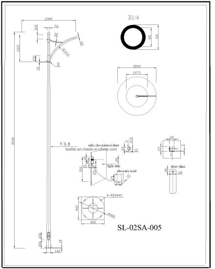 China S335 S355 Grade Galvanized Steel Lighting Pole
