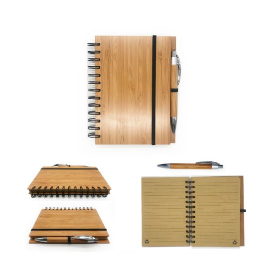 Office Supply Notepad Bamboo Cover Spiral Notebook with Bamboo Pen