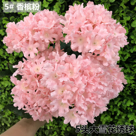 5 Head Artificial Hydrangea Bouquet Silk Flowers Leaf Wedding Bridal Party Home Decor Pictures Photos