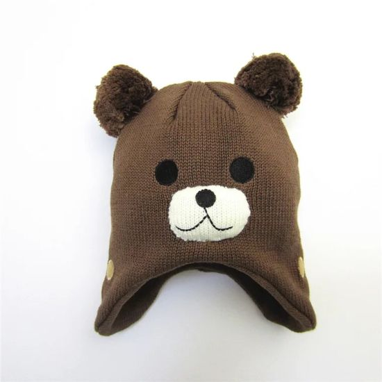 Bear Ear Kids Baby Hats Beanie Warm Hooded Knitted Scarf Set Earflap Caps pictures & photos