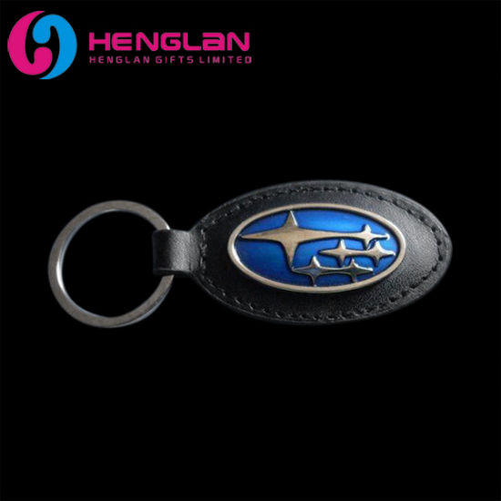Silver Plated Enameled Metal Alloy Subaru Keyring With Leather Car