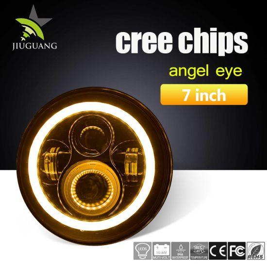 6500K 7′′ Round Halo Ring Jeep Wrangler LED Headlights, 3000K Amber LED Fog  Light