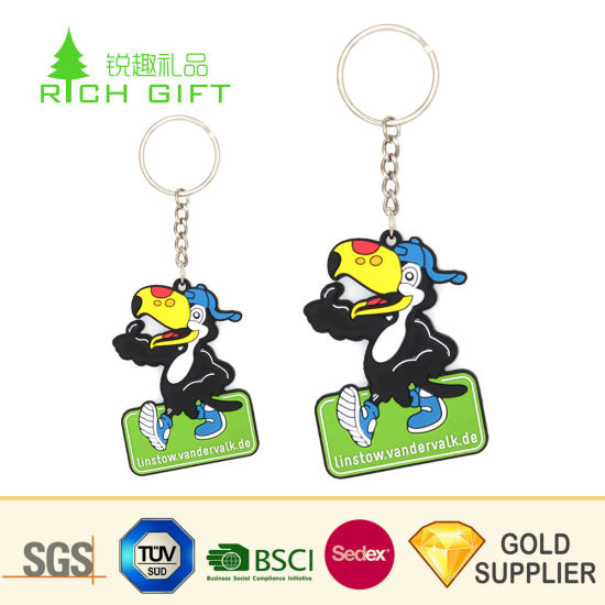Custom Fashion Promotion Hot 3D Silicone Soft PVC Key Ring Cartoon Animal Ball Shoe Reflective Embossed Rubber Keyring for Advertising Toys Promotional Gift pictures & photos