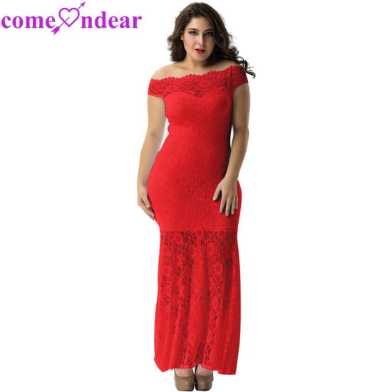 Factory Price Women Plus Size Sexy Red Lace Evening Gown pictures & photos