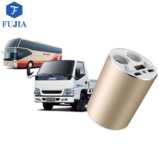 12V Cup Holder Power Adapter with 2.4A USB Car Charger