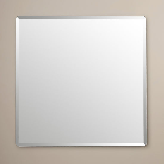 Frameless Beveled Mirror Round Square