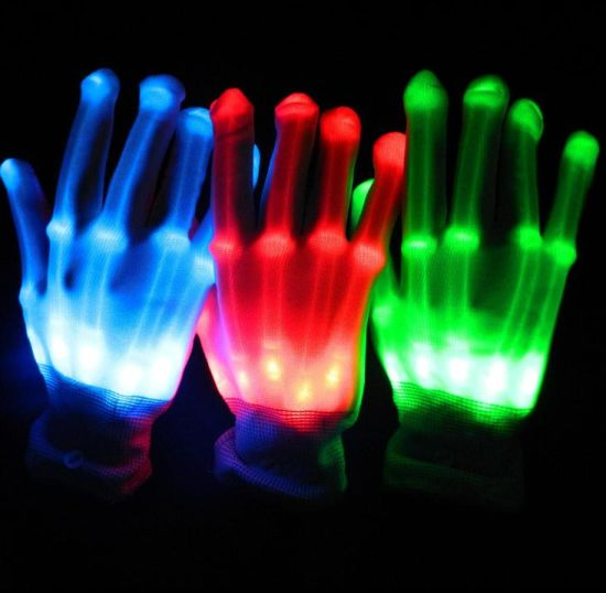 LED Glowing Skeleton Gloves, Cheap LED Gloves Halloween Party Custom LED Flashing Gloves pictures & photos