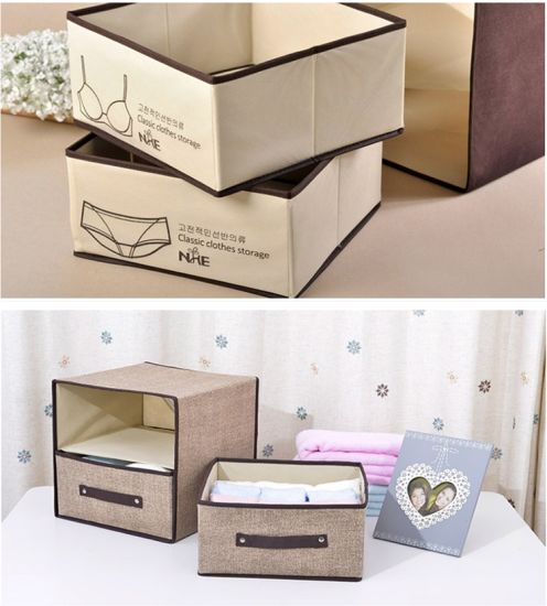 Non Woven Cardboard Promotion Collapsible Bra Underwear Storage Box Whith 4  Handle