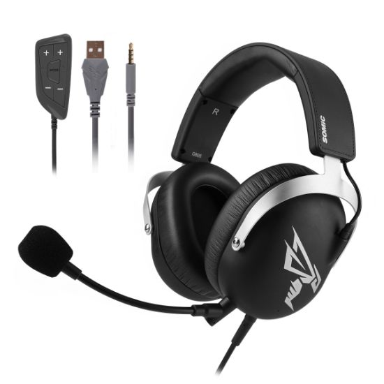Somic G805 USB 3.5mm 7.1 Surround Sound Noise Cancelling Gaming Headset with Detachable Mic for Computer PC PS4 xBox One Mobile Phone